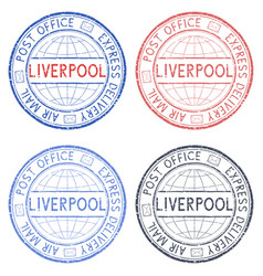 Colored postal stamps liverpool uk vector