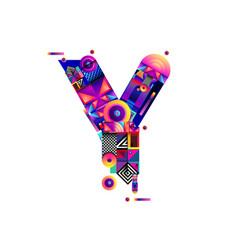 Colorful alphabet font letter y for logo vector