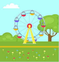 Colorful poster ferris wheel in city park vector