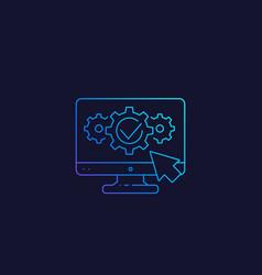 Computer diagnostics linear icon vector