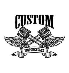 Custom motorcycles emblem template with winged vector