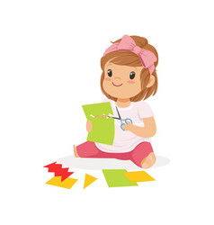 Cute little girl utting an application details vector