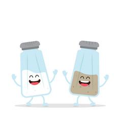 Cute salt and pepper shaker bottle vector