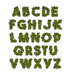 Decorative green marijuana alphabet design vector