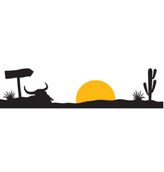 desert landscape with bull skull cactus and plant vector image