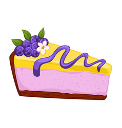 Dessert cheesecake with blueberry and topping vector