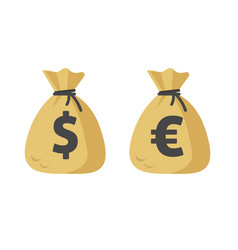 Dollar cash sack and euro money bag icon vector