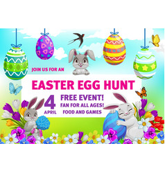 Easter holiday egg hunt party flyer with bunnies vector