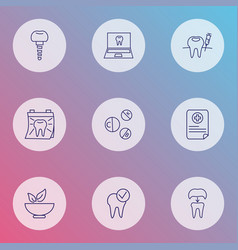 Enamel icons line style set with online dentist vector