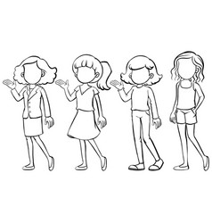 Faceless women in different costumes vector