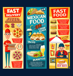 Fast food hot dog vendor pizza and tacos vector