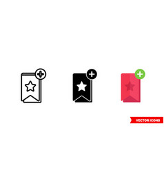 Favorite icon 3 types color black and white vector