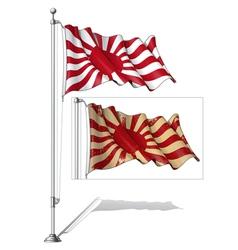 Flag pole japans emperial navy vector