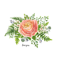 flower bouquet watercolor element peach pink vector image