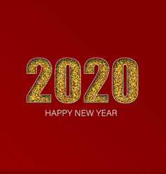 gold shiny glitter glowing numbers 2020 design of vector image