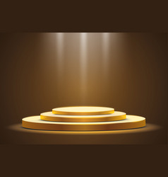 golden podium with a spotlight on a dark vector image