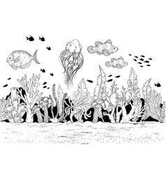hand drawn sea anemones coral reef oceanic animal vector image