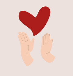 Hands holding with protect red heart love vector