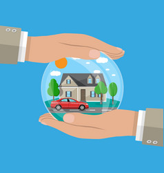 hands of agent protect house and car vector image