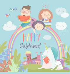 Happy kids on rainbow with magical unicorns vector