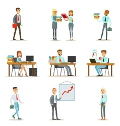 Happy Office Workers And Managers Working In The vector image