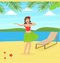 hawaiian young woman in traditional skirt of vector image