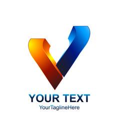 initial letter v logo template colored orange vector image