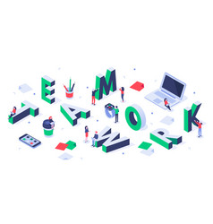 isometric teamwork lettering creative team vector image