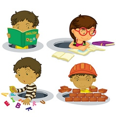 Kids playing and doing activities vector image vector image