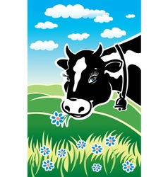 Kind cow on a meadow vector