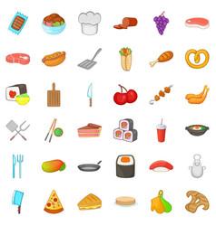 knife icons set cartoon style vector image