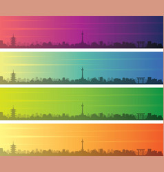 Kyoto multiple color gradient skyline banner vector