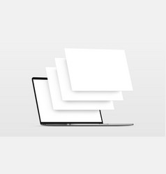 Laptop mockup with blank wireframing pages vector