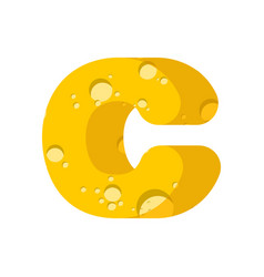 letter c cheese font symbol of cheesy alphabet vector image