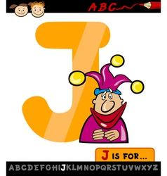 Letter j with jester cartoon vector