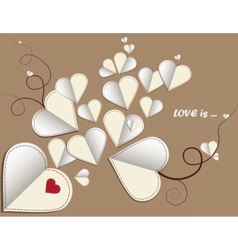 Love letter hearts on vintage background vector image