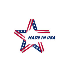 made in the usa star with inscription badge with vector image