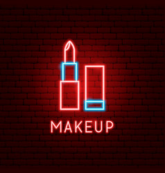 makeup neon label vector image