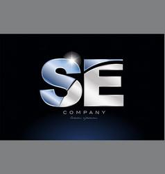 Metal blue alphabet letter se s e logo company vector