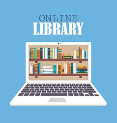 Online library in flat design vector