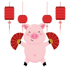 Pig with chinese fan vector