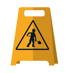 Plastic caution emblem and laborer with shovel vector