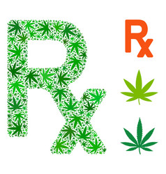 prescription symbol composition of weed leaves vector image