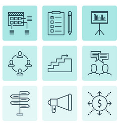 project icons set with cash flow teamwork and vector image