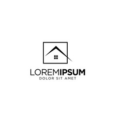 Real estate logo design with monoline style vector