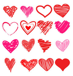 red heart hand drawn vector image