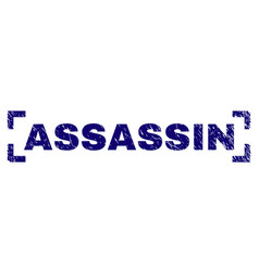 Scratched textured assassin stamp seal inside vector