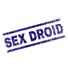 Scratched textured sex droid stamp seal vector
