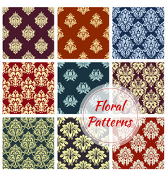 Seamless floral pattern set with damask ornament vector
