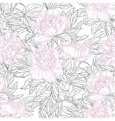 Seamless pattern of pink flowers peonies graphics vector
